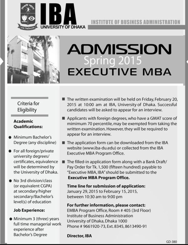 IBA DU Executive MBA Admission Test result 2015