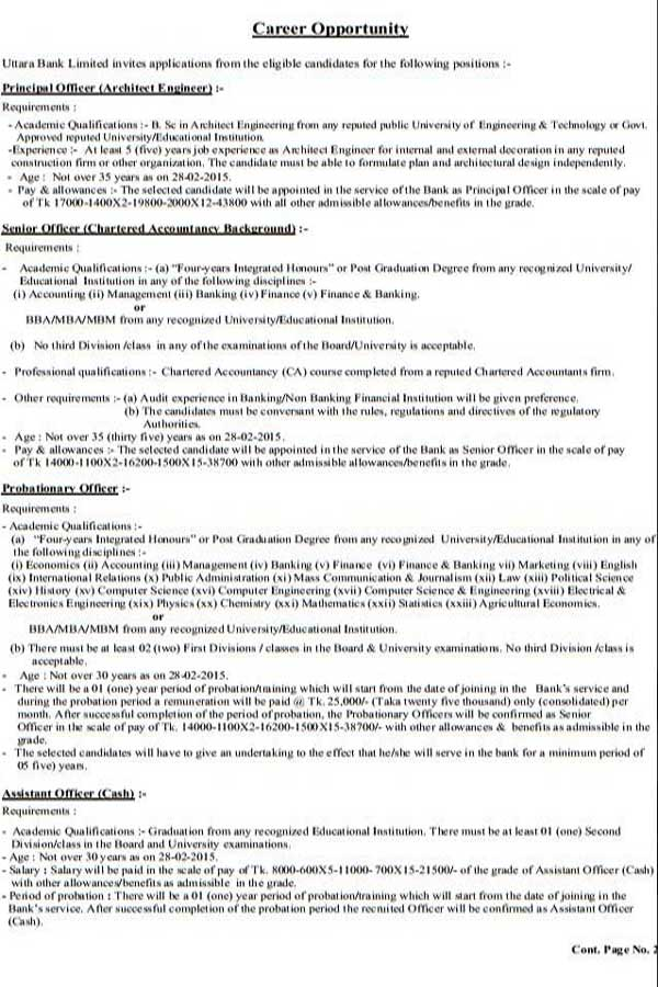 Uttara Bank Job Recruitment Circular 2015 Assistant Officer