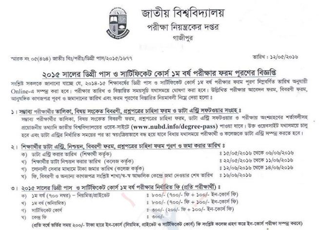 National University Degree 1st Year Form Fill Up Notice 2016