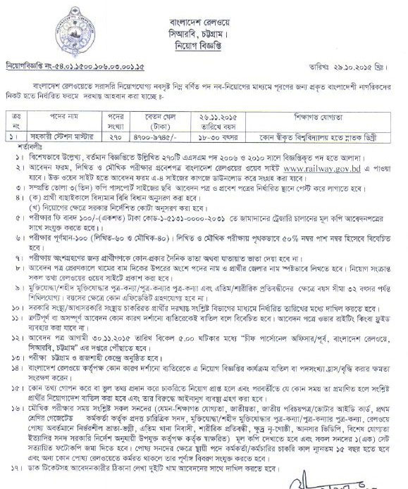 Bangladesh Railway Job Circular 2015 Application Form