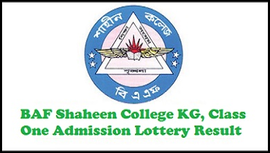 BAF Shaheen College KG Class One Admission Lottery Result