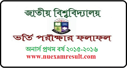 Honours 1st Year Admission Result BD National University