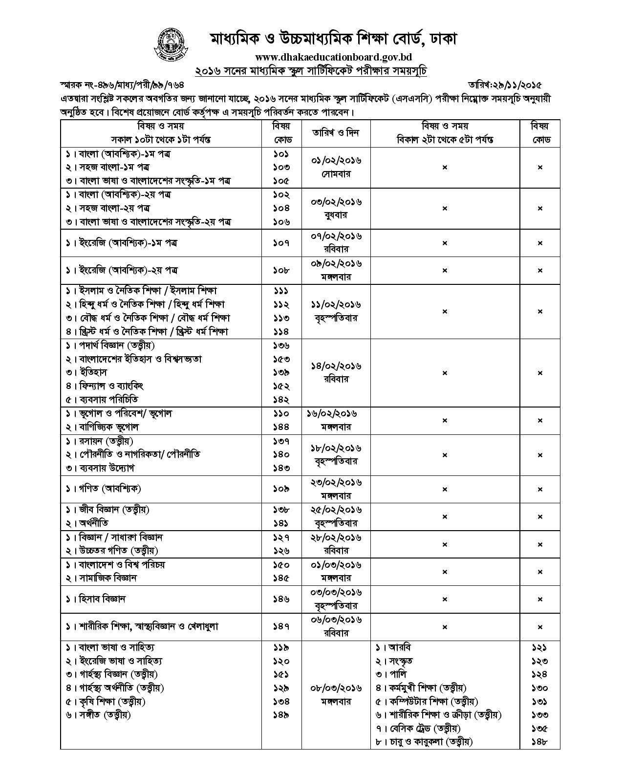 SSC Exam Routine 2016 Of Bangladesh