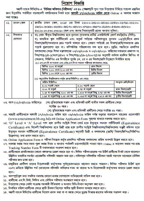 Bangladesh Krishi Bank Job Circular 2016