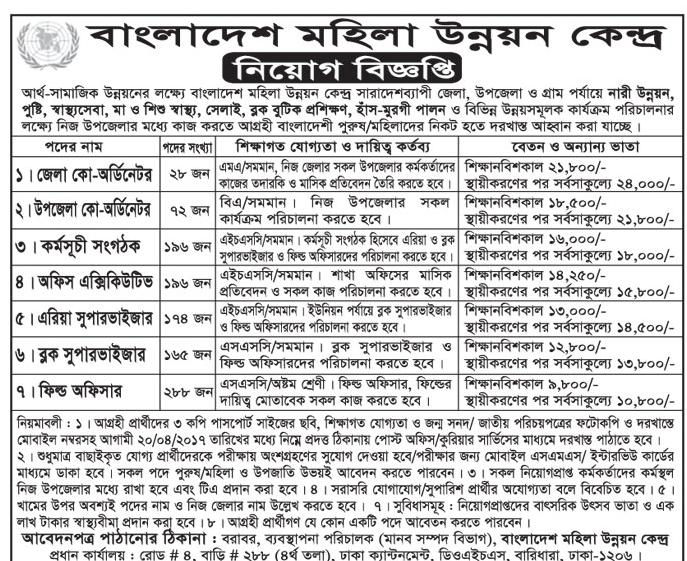 Bangladesh Women Development Center Job Circular 2017