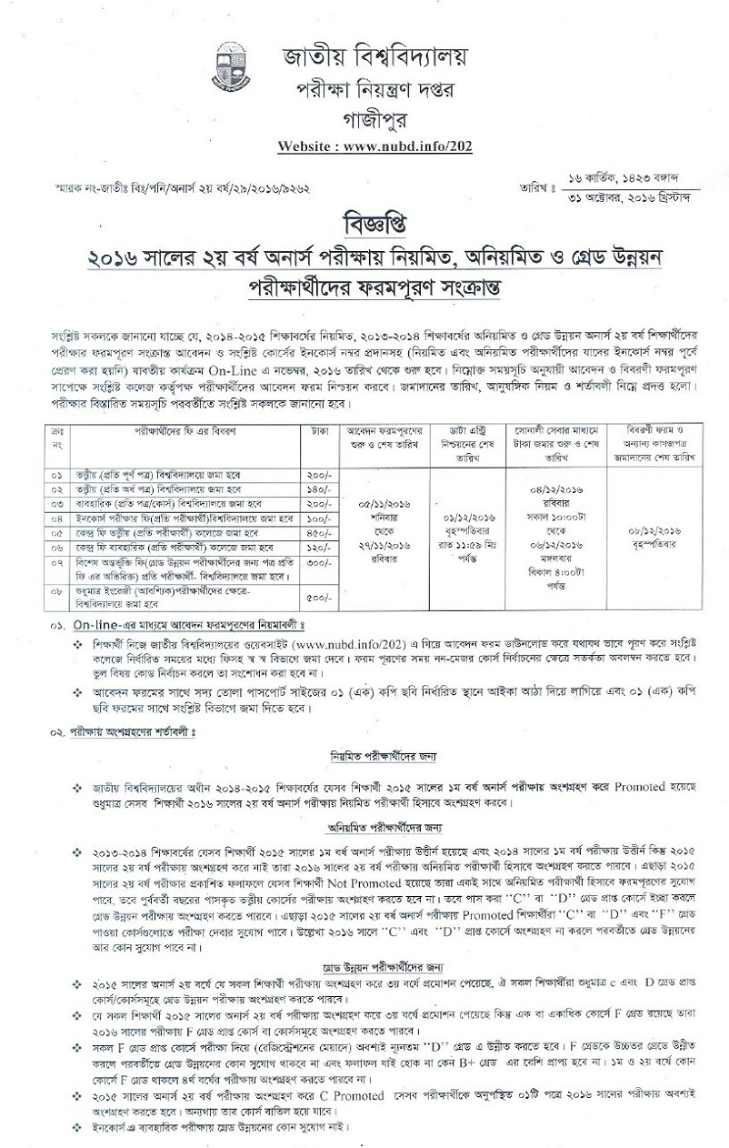 Honours 2nd Year Form Fill Up Application Process & Notice