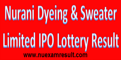Nurani Dyeing & Sweater Limited IPO Lottery Result 2017